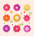 paper cut flowers - set of modern colorful vector image vector image