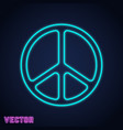 peace symbol neon light design vector image