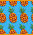pineappple seamless pattern anana in paper cut vector image vector image