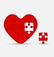 red piece puzzle heart jigsaw love romantic vector image