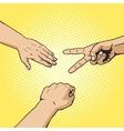 Rock paper scissors hand game pop art style vector image vector image