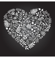 rustic floral heart shape vector image