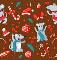 seamless christmas happy new year pattern with vector image vector image