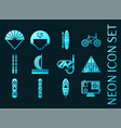 set extreme sports blue glowing neon icons vector image