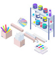 shelving with paints in modern typography or print vector image