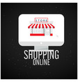 shopping online computer screen store background v vector image vector image