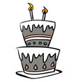 sketch a beautiful celebration cake with vector image vector image