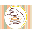 strong man hand with icon of cake on pat vector image vector image