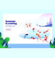 summer beach landing people at swimming pool on vector image vector image