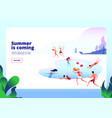 summer beach landing people at swimming pool vector image vector image