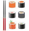 sushi set icons vector image