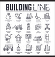 thin line builders doing labor job and working vector image vector image