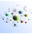 Three dimensional glowing color spheres on blue vector image vector image