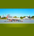 transport airplane express delivery preparing vector image vector image
