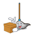 with box mop character cartoon style vector image vector image