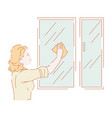 woman washing windows or wiping glass housework vector image vector image