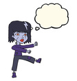 cartoon undead girl with thought bubble vector image