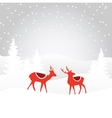 Retro christmas card invitation with reindeer vector image