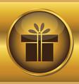 gold button web icon present box vector image