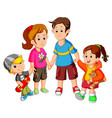 happy family holding hands vector image