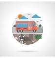 School bus detailed flat color icon vector image