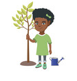 african-american smiling girl planting a tree vector image vector image
