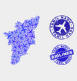 airlines composition tamil nadu state map vector image vector image