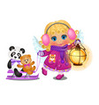 animated cute little girl with curly blonde hair vector image vector image