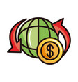 around world money shopping or payment mobile vector image