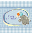 baby boy birthday card with elephant vector image vector image
