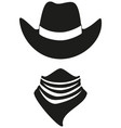 black and white cowboy avatar silhouette vector image