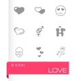 black love icons set vector image vector image