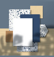 business cards and flyer on terrazzo pattern and vector image vector image
