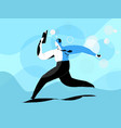 business man runs toward success with tablet vector image