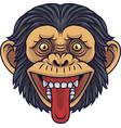cartoon chimpanzee head mascot showing tongue vector image vector image