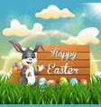 cartoon easter bunny with a sack of easter eggs ne vector image