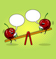 cherry on seesaw pop art vector image