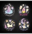 colored set teenage girl icons cute cartoon vector image vector image