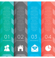colorful labels with sequence of steps vector image vector image