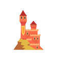 colorful royal castle with towers standing on hill vector image vector image