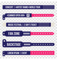 concert bracelets for entrance to the event set vector image vector image