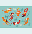 cute decorative background with swimming women vector image vector image