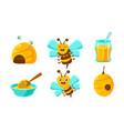 cute funny bees beehive fresh honey organic and vector image vector image