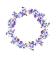 Detailed contour wreath with forget-me-nots and vector image