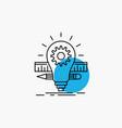 Development idea bulb pencil scale line icon