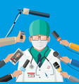 doctor with face mask giving speech at conference vector image vector image