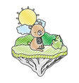 doodle nice bear seated in the float island vector image vector image