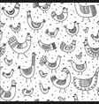 ethnic style linear birds seamless pattern vector image vector image