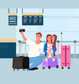 family in airport traveler taking selfie vector image vector image