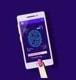 fingerprint scanning to mobile phone flat style vector image